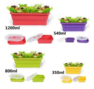 New Silicone Collapsible Portable Bento Box Bowl Lunch Bento Boxes Folding Food Container Lunchbox Eco-Friendly