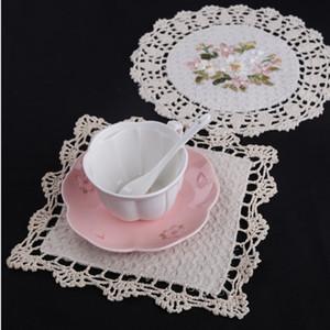 Sıcak satış dantel zenci placemat fincan pot kupa tutucu içecek treni Ev Coffee Shop yemek masa dekoratif cihazlar.