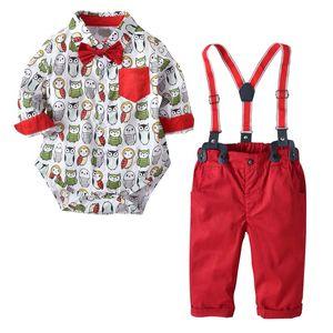 Çocuklar erkek beyefendi giyim seti turn down yaka baykuş fil baskı romper + pantolon% 100% pamuk erkek çocuk bahar güz giyim iki adet setleri