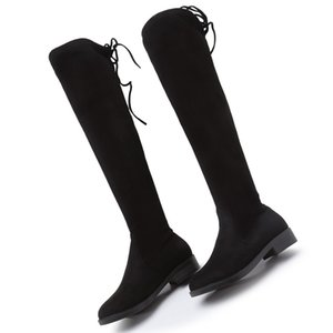 OLYGWSB00027 Europe Style Women's Shoes Women Boots Autumn Stretch Fabric Over-the-Knee Boots Thick Heels Elastic Boots Round Toe 34--43