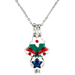 Silver Enamel Christmas Bell Star Essential Oil Diffuser Locket Women Aromatherapy Beads Pearl Oyster Cage Necklace Pendant-Boutique gift