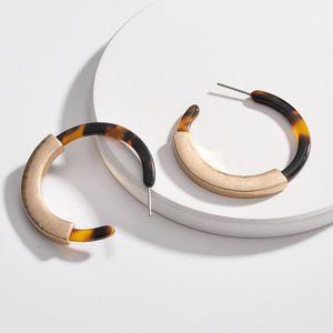 سبيكة أكريليك ورقة C على شكل بسيط مبالغ فيها أنثى أقراط اكسسوارات مجوهرات أقراط هوب كبيرة
