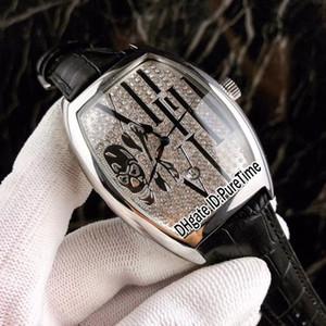 Новые Сумасшедшие Часы Casablanc 8880 Стальной Корпус Алмазный Череп Большой Римский Слово Набор Автоматические Мужские Часы Коричневый Кожаный Ремешок 4 Стили Lxuury F123d4