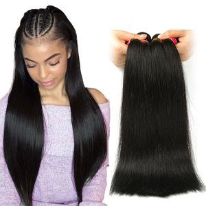 Peruvian Straight Bundles de cheveux non traités Péruvien Straight Virgin Armure de cheveux humains Couleur naturelle Double Trame Pas cher cheveux péruviens 3 Bundles