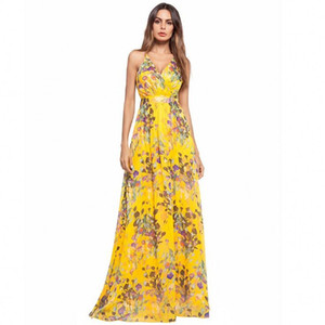 spring and summer Women Floral Printing Sleeveless sexy Boho Dress Evening Gown Party Long Maxi Dress Summer Sundress Casual Dresses