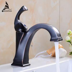 Basin Faucets Brass Oil Bronce Bronce Negro Baño Faucet Montaje de cubierta Vanity Vessel Sinks Grifo mezclador Grifo de agua fría y caliente 7269