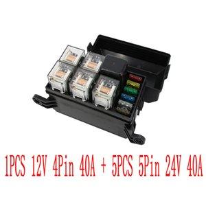 6 Maneiras Auto montagem da caixa de fusível com 1 PCS 12 V 4Pin 40A + 5 PCS 5Pin 24 V 40A relé e fusíveis de Potência de Montagem do distribuidor Relé de montagem