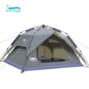 Desert& Automatic 3-4 Person Camping Tent Large Space Double Function Waterproof Sun Shelter Handbag Travel Tent