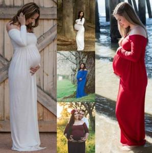 Материнство платье для всхода фото Maxi Maternity платье не разделенное ветровое шифон Fancy сексуальных женщин родильных фотографии реквизита
