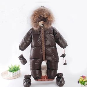 Inverno Tuta bambino cappotto dell'anatra giù tuta Snowsuit Outerwear Boy caldo del pagliaccetto della neve di usura dei bambini dei vestiti della ragazza Parka Pelliccia Outfit