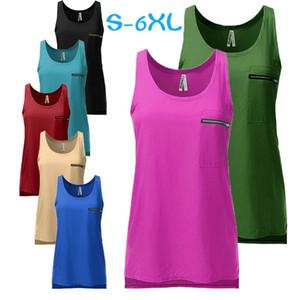 Femmes en mousseline de soie Débardeurs conception poche zippée T-shirts manches d'été Casual Gilets Couleurs Bonbons