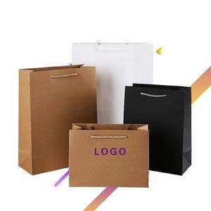 Sacos de compras feitos sob encomenda do logotipo para o saco de papel de Kraft da placa alta luxuosa da loja sem fio para o empacotamento da roupa do presente