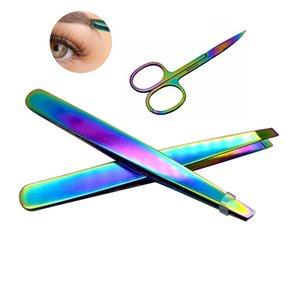 Mode Arc-En-Couleur En Acier Inoxydable Sourcil Tweezer Sourcil Mini Ciseaux Clip Anti-statique Visage Remover Cheveux Outil