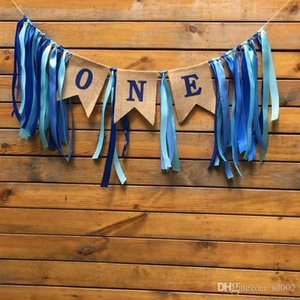 Fatto a mano in lino zigoli inglese lettera numero uno decorazioni della festa nuziale tirare bandiera nastro coda di pesce forma banner vendita calda 11zz zz