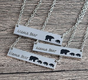 12pcs lot Mama Bear Tag Engraved Animal Pendant Necklace Gold Silver Mother Kids Love Necklace Gift Fashion Mom and Children Jewelry