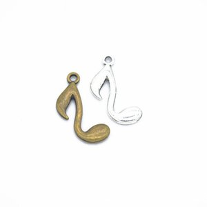 Bulk 500 pc musical note charms pendant 23*10mm Antique Silver & bronze Plated Pendants Making DIY Handmade