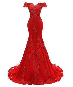 2018 New Arrivals Women's Elegant Evening Gown Prom Dresses With Lace Floor Length Special Occasion Wears