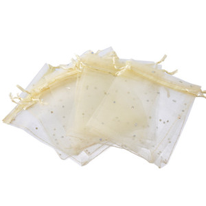 200pcs Light Beige Sequins Organza Bag Wedding Favours Xmas Candy Gift Bags Organizer For Jewelry Bags For Packaging Christmas Gift