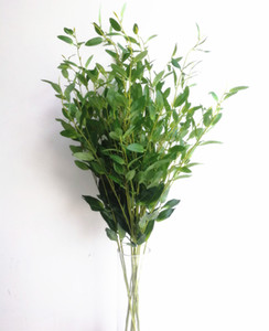 100pcs / lot de oliva rama de árbol de hoja de olivo tallo rojo artificial verde / 6 Tallos pieza falso / verde oliva del follaje de la planta