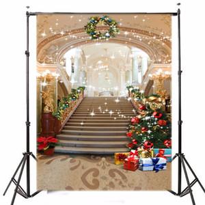 5x7ft telón de fondo de fotografía de vinilo ChristmasTree Gift Palace Stairs fondo para Photo Studio props fiesta de cumpleaños