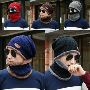 2pcs / серия Winter Beanie Hat шарф Set Взрослых Дети Размер Теплый Knit Hat Толстый Knit Череп Cap для мужчин женщины