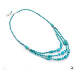 Jiasha Allgleiches drei Schicht der grünen Stein Böhmen Art Türkis Perlen Halskette Frau Schmuck Großhandel