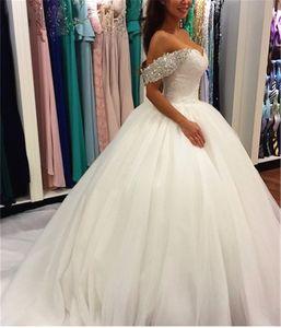 Fora do ombro pesados Cristais Bola Vestidos Lace Vestidos de casamento Princesa vestido de noiva com trem longo