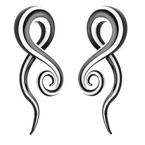 1 Par BlackWhite Glass Ear Tunnel Spiral Snail Plug Ear Flesh Stretcher Expander Pendientes Body Piercing Jewelry 5 mm, 6 mm, 8 mm, 10 mm, 12 mm, 14 mm