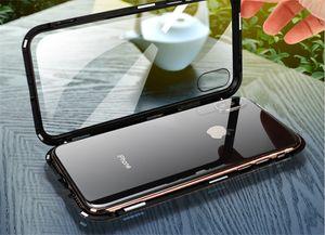 Magnetic Back Phone Case für IPhone7 Case X 8 6 Plus Klar gehärtetes Glas + Eingebauter Magnet Case für IPhone 8 6s Metallabdeckung