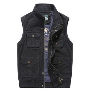 Plus Big Size 6XL 7XL 8XL  Clothing Autumn Mens Vests Sleeveless Jacket Cotton Casual Multi Pocket Vest Male Waistcoat Coat