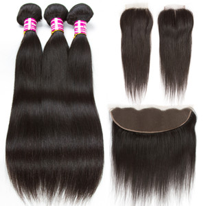 Cheap Brazilian Straight Human Hair Bundles With Closure 10A Virgin Hair Wefts With Frontal Straight Natural Color Weaves Hair Extensions