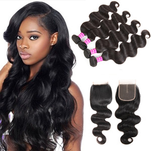 Superior Supplier Brazilian Virgin Hair Body Wave Remy Human Hair Bundles With Lace Closure Accessories Hair Weave Bundles Extensions Wefts