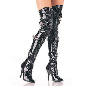 wholesale Belt buckle decorated knee boots high heel big size 12cm centimeter super high heels patent leather sexy knee high party boots