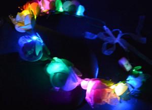 깜박이 LED 백열 꽃 머리띠 조명 파티 꽃 머리 갈 랜드 화환 결혼식 꽃 크라운 꽃 화환 Boho for Festival