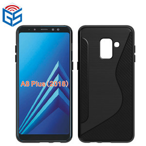 Estuche para Samsung Galaxy A8 2018 A530F / A8 Plus A8 + 2018 Diseño cepillado Soft S Line TPU contraportada