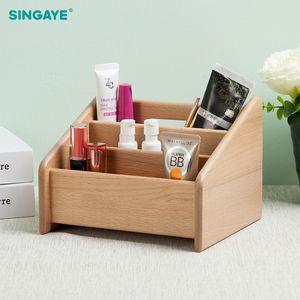 Großhandel Holz Make-up Pinsel Box Make-up Veranstalter Kosmetische Storage Tool Flashing Bleistift Halter Lippenstift Organizer Inhaber Fall