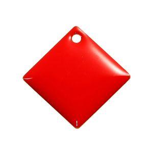 """Doreen Box Copper Paillettes smaltati Charms Multicolor Rhombus Smalto non placcato Gioielli fai da te Componenti 24mm (1 """") x 24mm (1""""), 5 pz"""