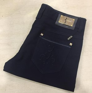 Bi * llio * naire Itali * an Co * ut * ure jeans de hombre 2018 nuevos y elegantes pantalones minimalistas bordados