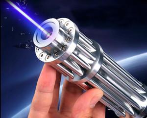 ¡CALIENTE! Alta potencia fuerte 5000000m punteros láser azul 450nm Lazer Pen linterna caza con 5 tapas de estrellas