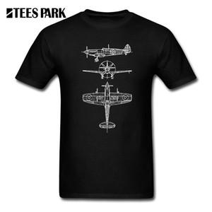 Camisetas casuais Spitfire Aircraft Blueprints Piloto Camiseta Spitfire Airplane Vintage Hilarious T-Shirt Adulto Relaxed Fit Homens populares