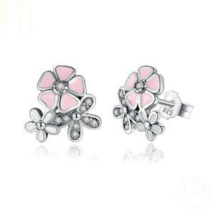 925 Sterling Silver Poetic Daisy Cherry Blossom Stud Pendientes Mixtos Clear CZ Pink Flower Women ANIVERSARIO VENTA 2018 YMPAS461
