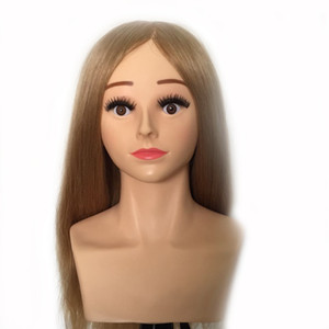 "22"" 220g 240g 100% Human Hair Hairdressing Competition Level Training Practice Head Mannequin Manikin Head #27"