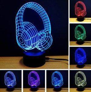 Magia Lâmpada 3D Luz Da Noite Luminária LED Gradiente Fone De Ouvido Fone De Ouvido Herset Forma Mesa Lâmpada de Mesa Home Decor Nightlight para Crianças Presente de Natal