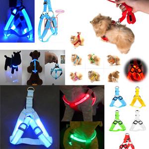 Nylon Hundegeschirr Katze Sicherheit LED Blinklicht Leine Seil Gürtel Kragen Weste Haustier Hundegeschirr Katze Sicherheit LED Blinklicht Harness BBA309