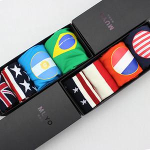 Envío gratis hombres boxeadores cortos de América Inglaterra Italia Brasil bandera nacional de algodón masculino bragas y calcetines caja de regalo