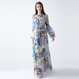 2018 Hot Pretty Women Lantern Sleeve Print Long Silk Dress High Quality Spring Fashion O_neck Floor-Length Retro Maxi Dress