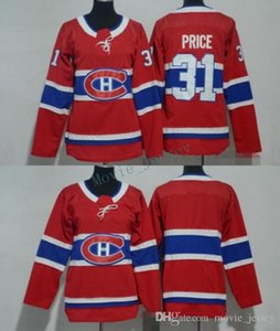 Hombres Mujeres Jóvenes Niños Montreal Canadiens 31 Carey Price Blank Red Jerseys Todo Stiched Hockey Jersey Boy Girls