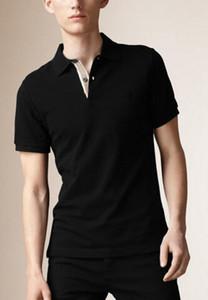 Los nuevos hombres calientes de Londres Brit clásico Polos caballo bordado de la manera del verano del estilo de Inglaterra Polos manga corta sólido T-shirts Tops Negro S-XXL