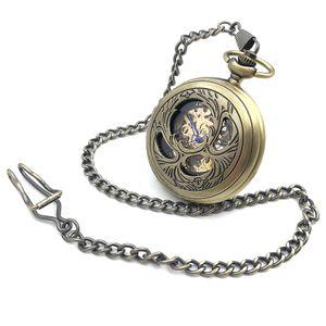 Beetle Japan Pats Fashion Mens Watches Skeleton Steampunk Bronze Tone Case Pocket Watch Hand Wind Mechanical Pocket Watch