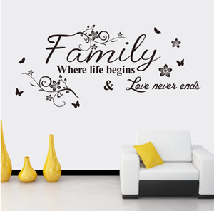 Letter Quote Wall Stickers Family Quote Wall Decal Removable Art Words Sticker Bedroom Living Room Decoration